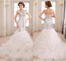 Luxury Vintage Crystal Beads Mermaid Wedding Dresses 2020 With Feathers Bridal Gowns vestidos de noiva