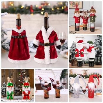 QIFU Christmas Wine Bottle Set Merry Christmas Decor for Home  2020 Navidad Noel Cristmas Ornaments Xmas Gifts New Year 2021 christmas decoration set pink let it snow kit paper snowflake fans navidad new year ornaments new