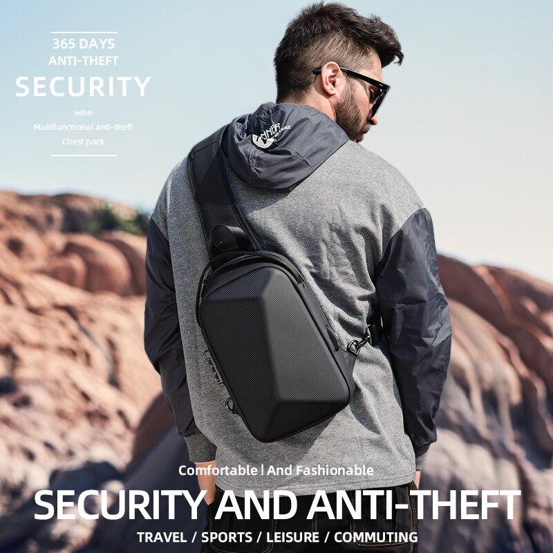 ROWE Men Shoulder Crossbody Bag Multifunction TSA Lock Large Capacity Anti-theft Chest Bag USB Charging Waterproof Messenger Bag