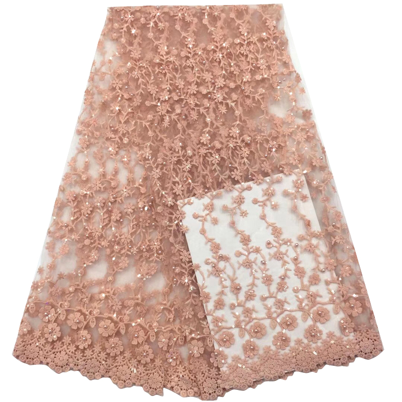 Latest African Lace Fabric Excellent Floral Appliques With Sequins Best Tulle Lace For Women Evening Dress кружевное платье