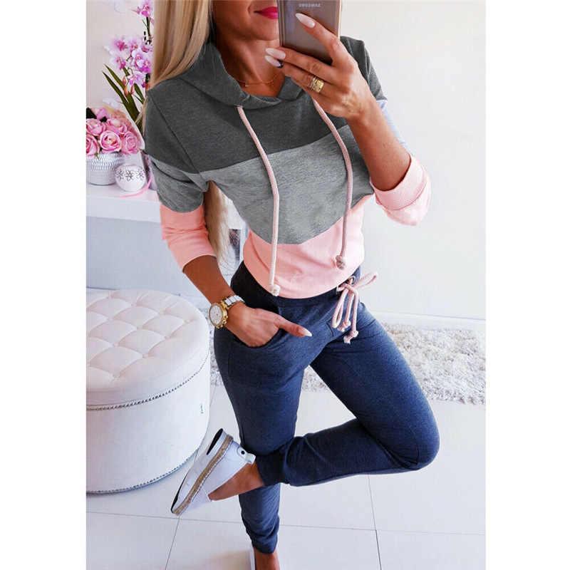 블랙 핑크 그레이 패치 워크 2020 새로운 디자인 핫 세일 후드 티 스웨터 여성 캐주얼 스웨트 걸스 유럽 탑스 한국어