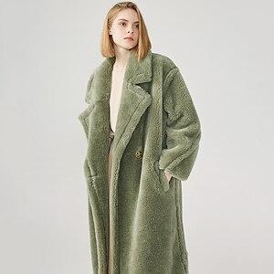 Image 5 - נשים 100% אמיתי כבשים Shearling מעיל מזדמן מעיל סתיו חורף ארוך שרוול דש פרווה הלבשה עליונה נשי צמר דובון מעיל