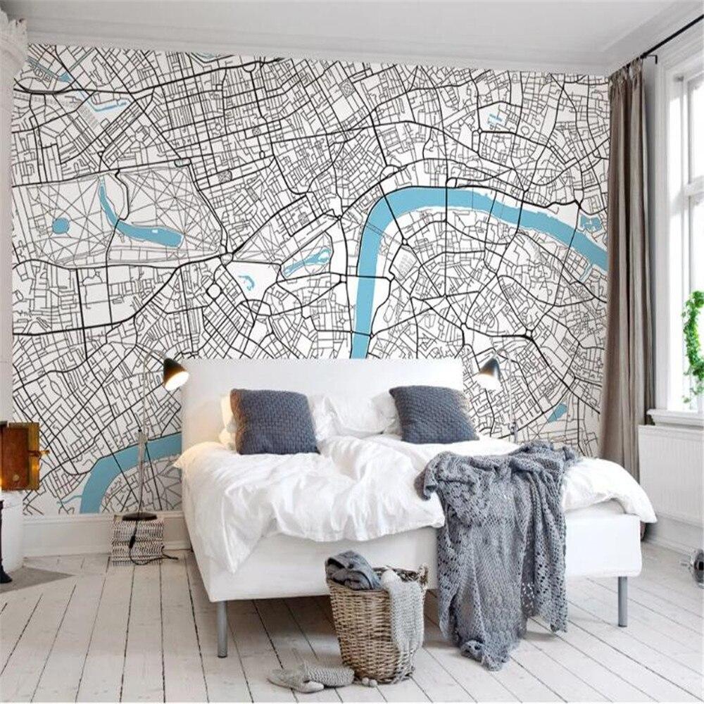 Milofi custom simple lines Nordic fashion London map creative TV background wall large wallpaper mural