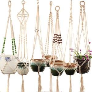 Plant-Hanger Wall-Decoration Macrame Garden Hot-Sales 100%Handmade for Countyard
