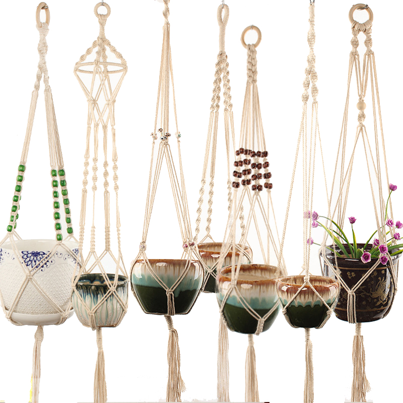 Hot Sales 100% Handmade Macrame Plant Hanger Flower /pot Hanger For Wall Decoration Countyard Garden