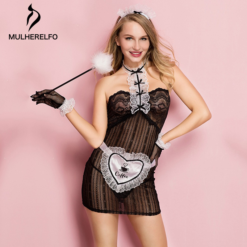 Sexy See Through Lace Maid Outfit Women Lingerie Tube Top Sashes Backless Mini Lady Sleepwear New Black Sexy Women Night Dress