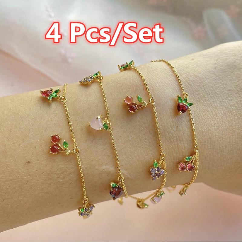 4 шт./компл. женские браслеты с фруктами, Простые Модные ювелирные изделия, браслет для вечеринки, подарки