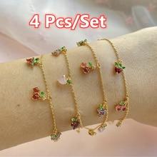 4 pçs/set moda feminina doce cristal frutas pulseiras para as mulheres simples moda festa pulseira jóias presentes