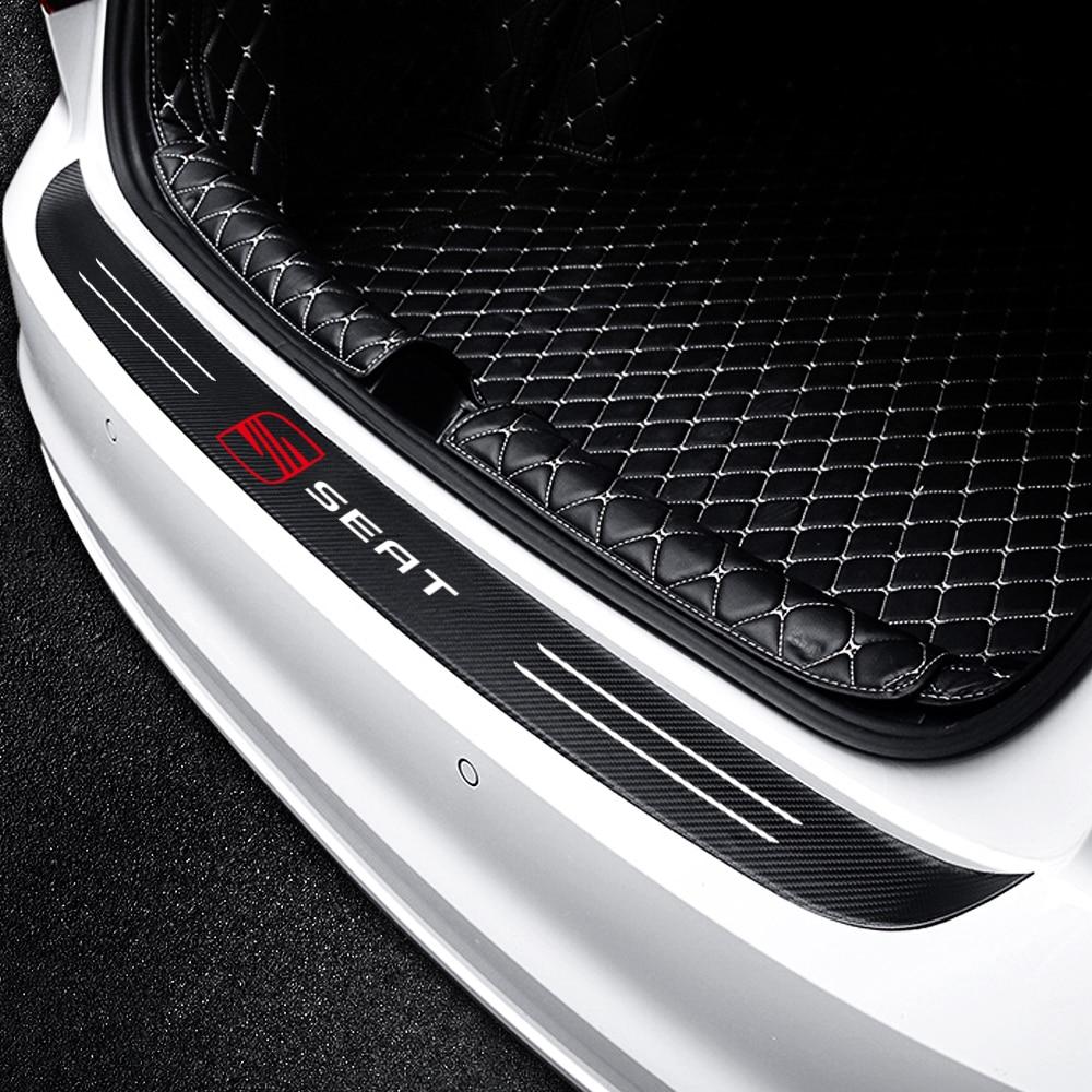 Car Carbon Fiber Trunk Rear Bumper Protector Sticker For Seat FR Leon Ibiza Altea Alhambra Emblem Decoration Accessories