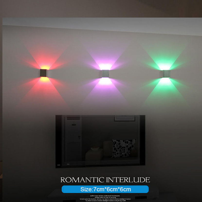 7 Color LED Wall Lamp 3W Aluminum Up Down Wall Lights High Quality LED Bead For indoor Home Bedroom Path Way Decoration Lighting in LED Indoor Wall Lamps from Lights Lighting