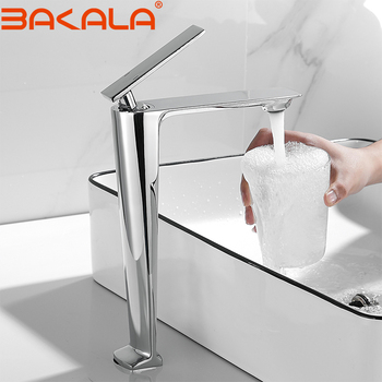 BAKALA White/Chrome TALL Bathroom Basin sink Faucet Cold and Hot Water Mixer Single Handle Bathroom Tap 1