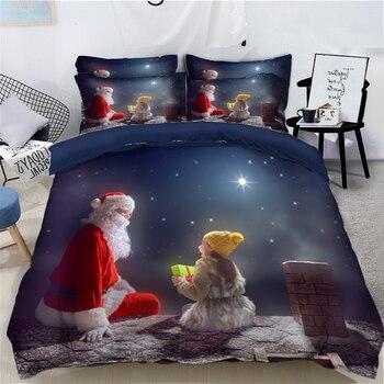 Child Room Bedding set Kind Santa Claus Pattern Christmas Duvet Cover set Soft Fabric Single/Double Bedding set Customizable
