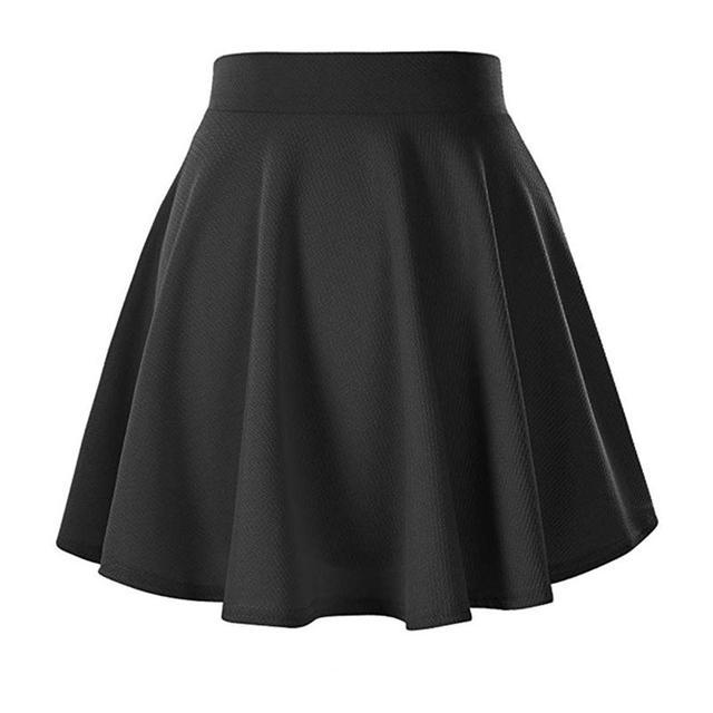 Women High-Waisted Skirt Basic Black Elastic Waist Textured Flare A Line Mini Skirt Short Minimalist Skirt Female Plus Size 1