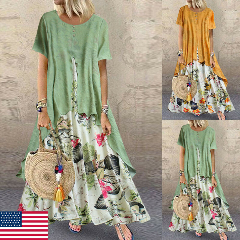 Plus Size Women Boho Floral Casual Baggy Tunic Cotton And Linen Fake Two Irregular Large Dress Summer Loose Beach Sundress