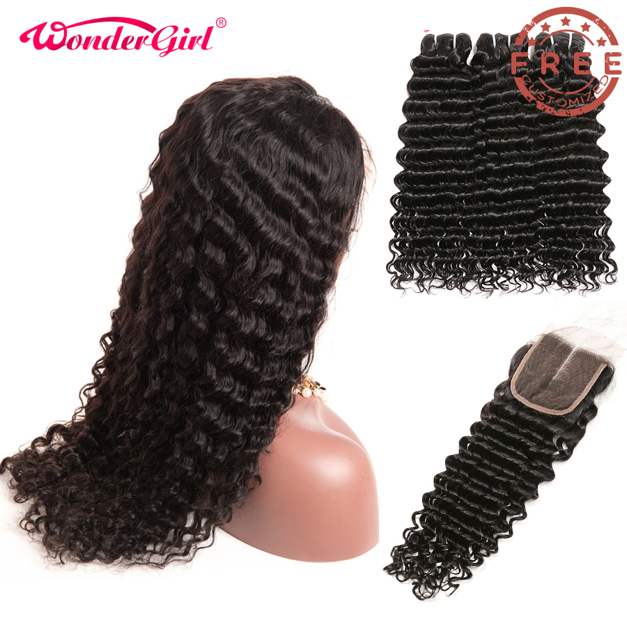 Free Customized Deep Wave 4x4 <font><b>Lace</b></font> Closure <font><b>Wig</b></font> <font><b>300</b></font> <font><b>Density</b></font> By Brazilian Remy Human Hair Deep Wave Bundles With Closure image