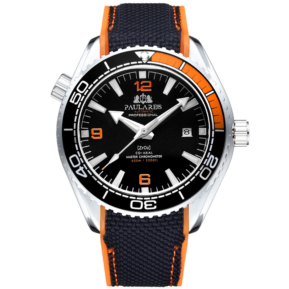 Rubber Strap Bezel Classic Watch Rotatable Self-Wind-Mechanical-Canvas Orange Blue Automatic