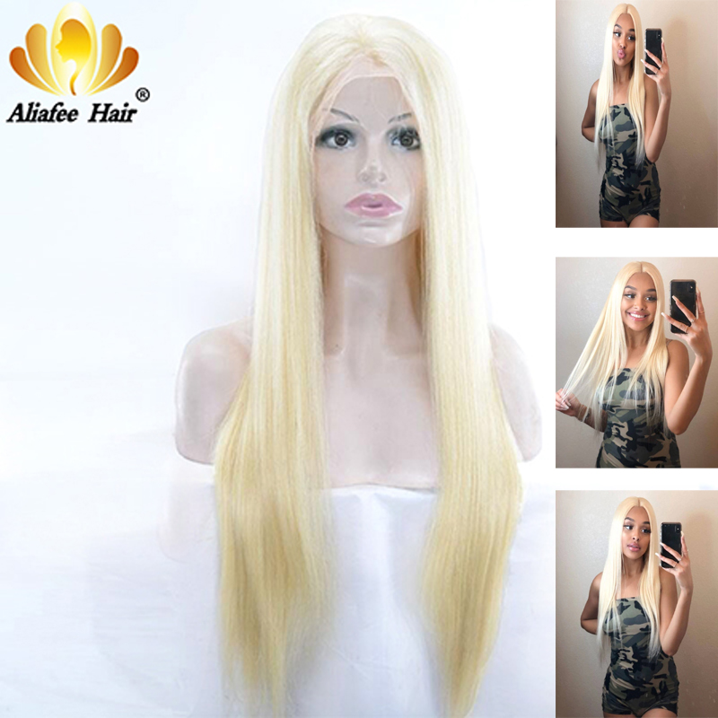 Full Lace Human Hair Wigs 613 Blonde Ombre Color 150% 180% Density 8-30 Inch Brazilian Straight Remy Hair Wigs With Baby Hair image