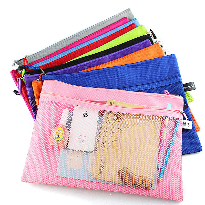 1pc A4 Monochrome Zipper File Bag Double Canvas Zipper Bag Business Office Folder Child Student Learning Stationery