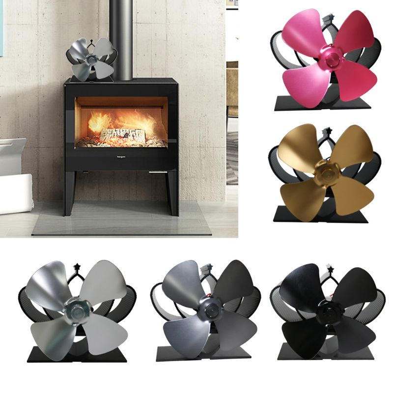 4 Blade Fireplace Heat Powered Stove Fan Aluminum Efficiently Warm Room Wood Log Burner Eco Friendly Quiet Stove Fan