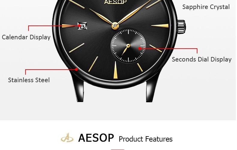 Aesop clássico relógio mecânico masculino data calendário