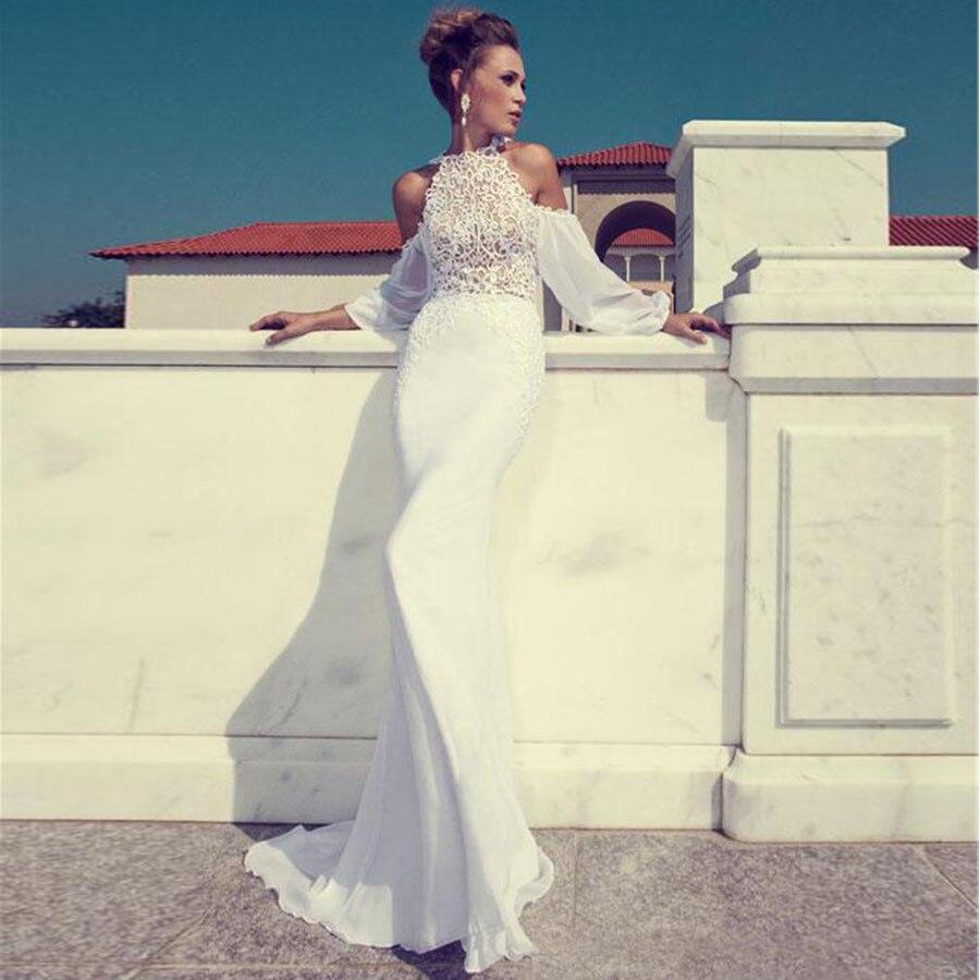Long Sleeves Mermaid Bridal Hollow Back Wedding Gown Chiffon Custom Julie Vino Crew Neck Lace Wedding Dress Bridal Dress