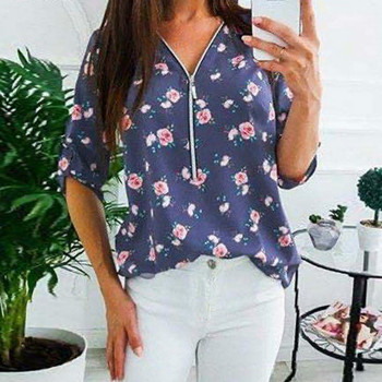 Zipper V Neck Long Sleeve Womens Shirts Chiffon Blouses Retro Floral Print Blouse Blusas Mujer Ladies Casual Shirt Plus Size 5XL 5xl oversize women blouses casual beach long sleeve v neck loose shirts plus size boho ladies top vintage print summer blusas