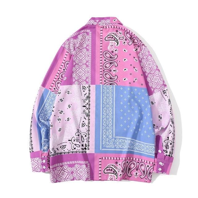 [EWQ] 2021 Spring Japan Patchwork Bandana Shirt Print Streetwear Shirts Long Sleeve Blouse Plus Size Tops Trendy Ladies Shirts 2