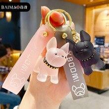 Keychain Couple Pendant Cute Cool Crystal Decoration Car-Key-Ring Bulldog Student-Bag