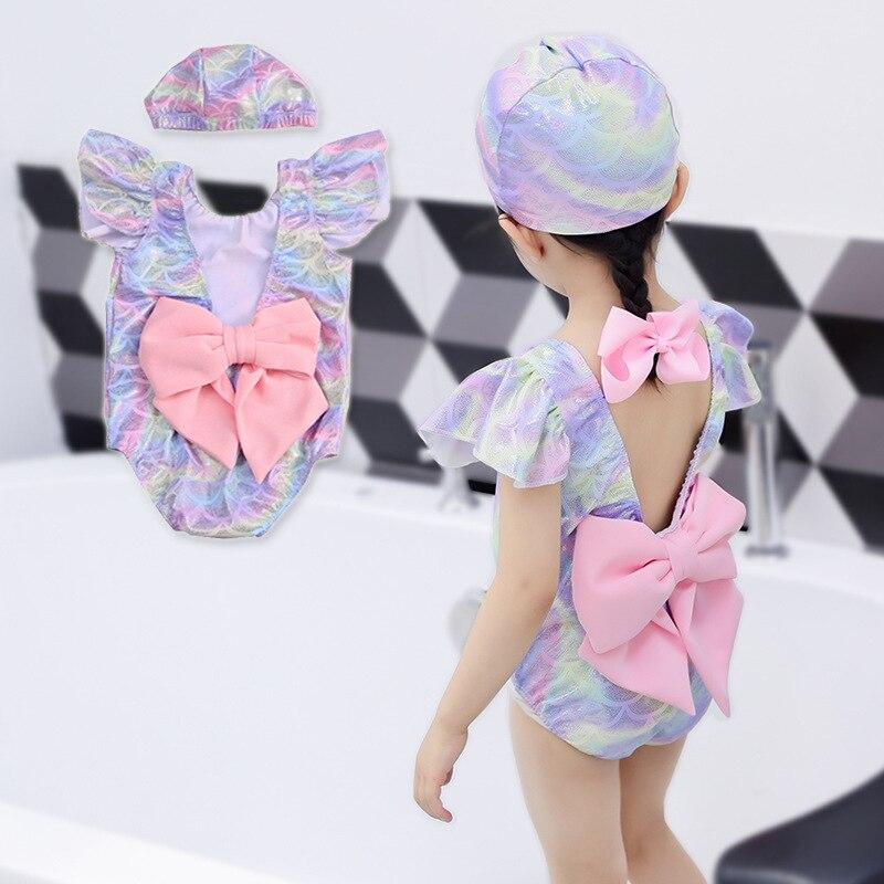 KID'S Swimwear Girls Siamese Swimsuit GIRL'S Baby Infants Small CHILDREN'S Swimming Trunks Princess Hot Springs Hooded Swimwear