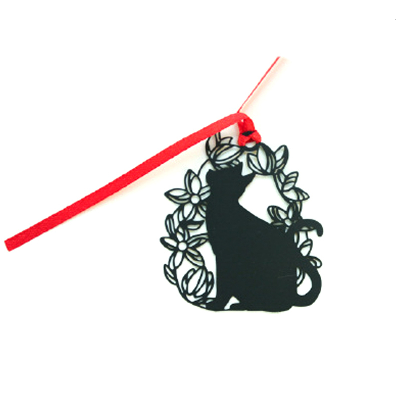 Black Cat Black Paint Stainless Steel Metal Bookmark Creative Chinese Style Student Gift
