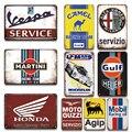 Двигатель нефть и газ гоночной команды бренд старинные металлические знаки для гаража Берлога украшения стены аксессуары ретро металличес...