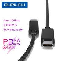 دوبيلينك 5A USB نوع C USB C 100 واط PD كابل الصاعقة كابل شحن سريع 4.0 USB 3.1 سريع شاحن كابل ل ماك بوك برو سامسونج