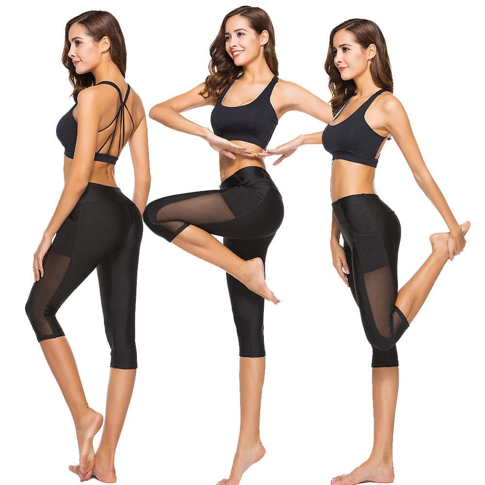New Style Capri High-waisted Leggings Side Pocket Gauze Joint Yoga Sports Women's Fitness Pants Summer Thin Section