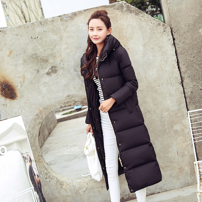 Women Winter Coats Female 90% White Duck Down Jacket Thick Slim X-Long Down Parka Hooded Warm Clothes 2020 Hiver 80002