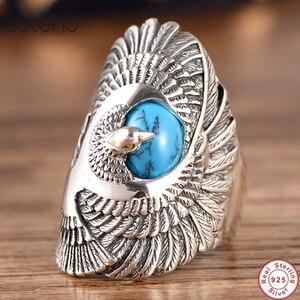 Punk Rock 100% S925 srebro kolor pierścień z naturalny turkus ręcznie rzeźbione skrzydła orła pierścionki Unisex Thai kolor srebrny