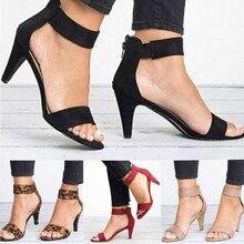 Spring Women Pumps Sandals Thin High Heel Open Toe Zipper Suede Leopard Platform
