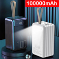 100000mAh Power Bank for Xiaomi Huawei iPhone Samsung Powerbank Portable Charger External Battery Pack Power Bank LED Poverbank