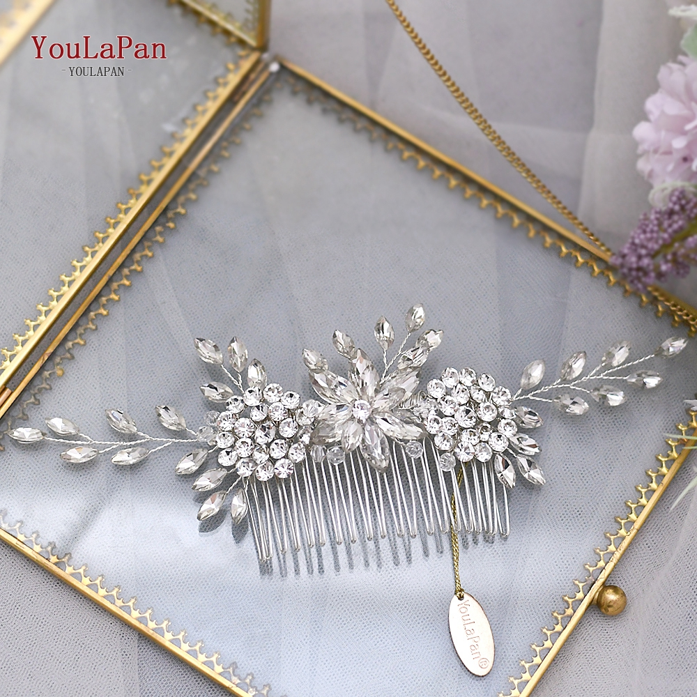 Купить с кэшбэком TOPQUEEN HP77 Silver Wedding Tiara Bridal Combs Rhinestone Hair Accessories Wedding Headwear Bridal Hair Clip Wedding Hair Comb