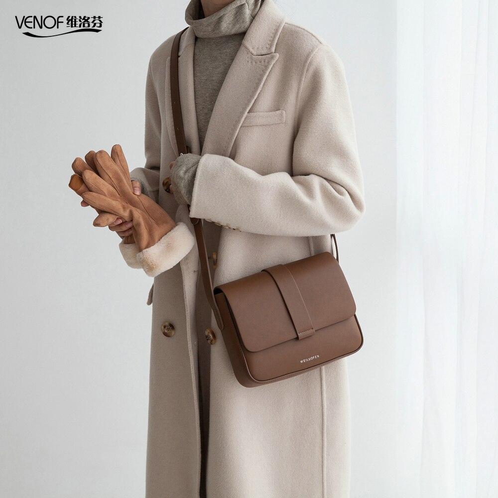 VENOF Brand Women Split Leather Crossbody Bags Casual Vintage Soft Cowhide Skin Shoulder Bags Fashion Messenger Bag High Quality