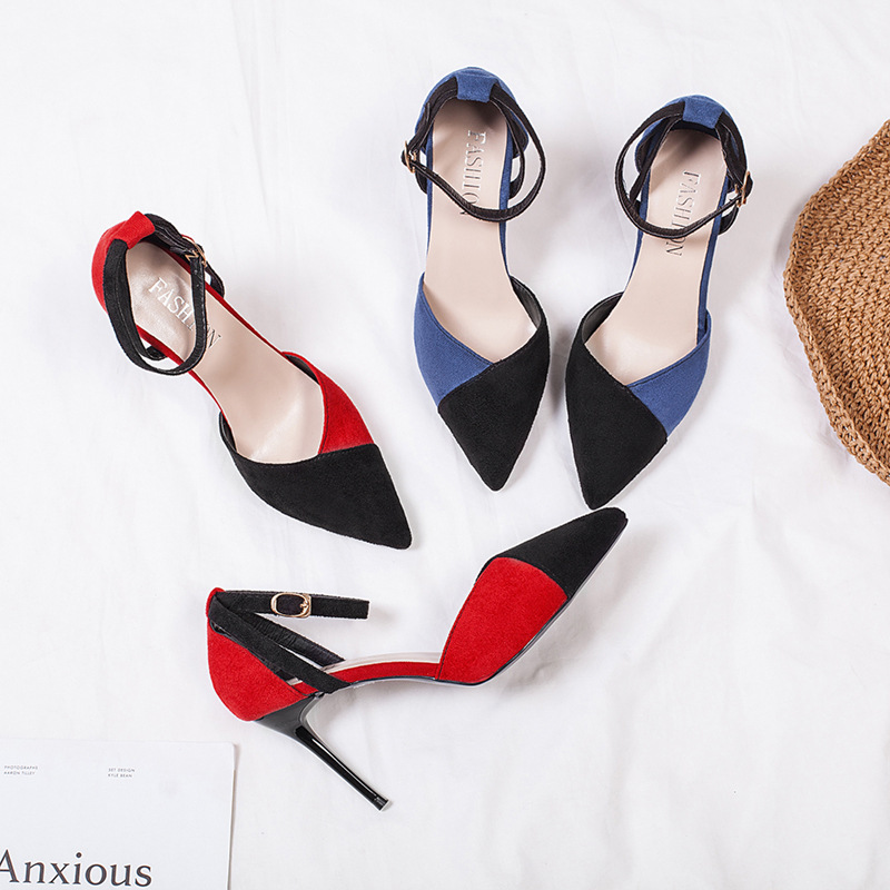 Fashion Womens Super High Heels 2020 Summer New Mixed Color Suede Pointed Buckle Stiletto Heels Red Sexy Sandals Woman Shoes