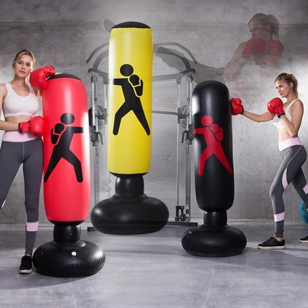 Vertical Inflatable PVC Boxing Column Fitness Decompression Hitting Thickening Foldable Easy To Move Punching Heavy Tower Bag