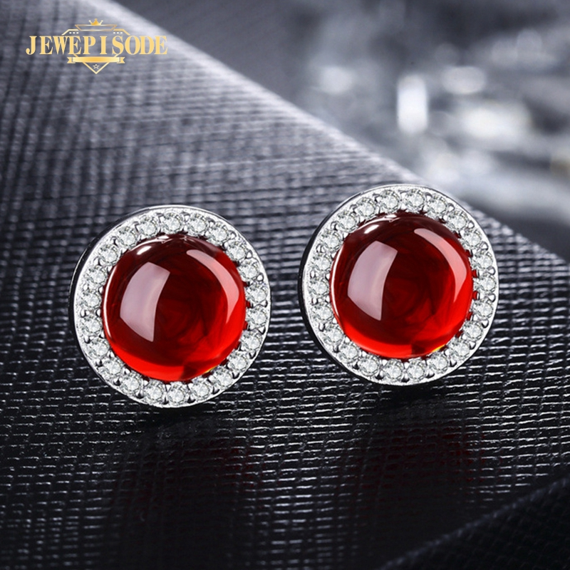Jewepisode Vintage Red Green Chalcedony Stud Earrings For Women Real 100% 925 Sterling Silver Fashion Jewelry Earring Party Gift