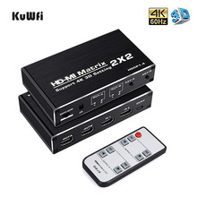 Kuwfi HD-MI switch matrix 2 em 2 fora hd 3d configuração divisor interruptor hdcp 1.4 até 4k @ 60 hz yuv 4:2:0 com controle remoto ir
