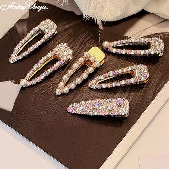 1PCS 2019 New Korean Barrettes Hair Clip For Girl Women Fashion Colorful Rhinestone Crystal Pearl Cute Hairpins Accessories