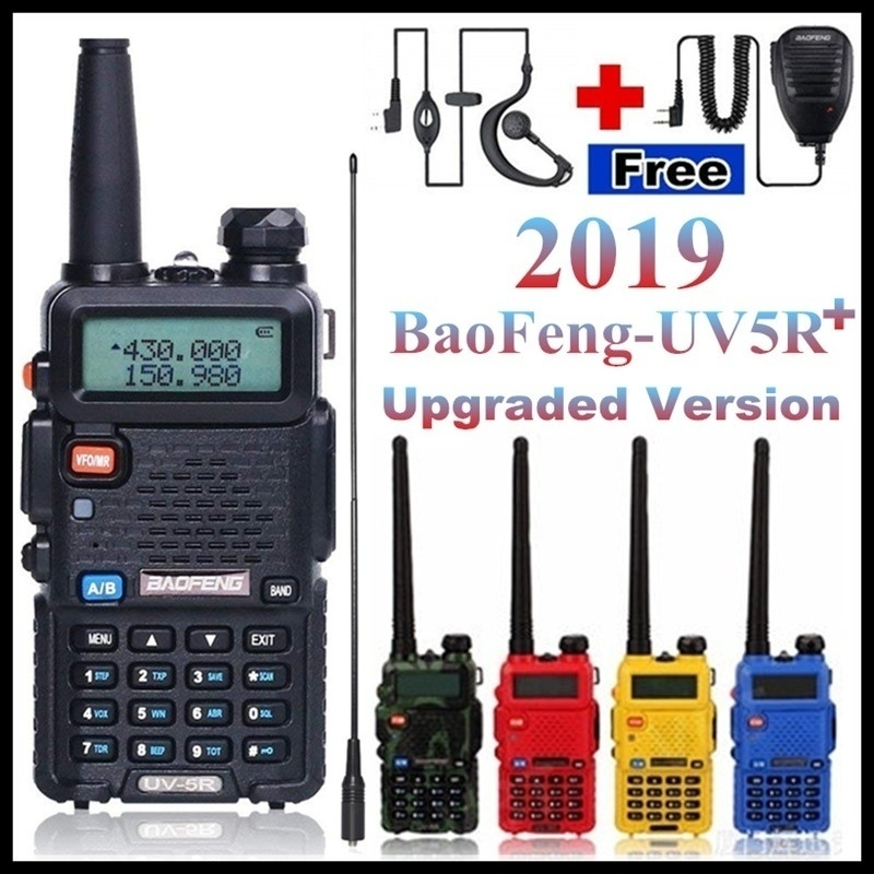 BaoFeng-UV-5R Plus Two Way <font><b>Radio</b></font> Walkie Talkie 5W 128CH VHF UHF Dual Band (Free Gifts:Hand Microphone and Earphone Mic/Headset) image