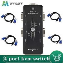 WVVMVV 4 port kvm-switch USB 2,0 VGA Splitter Drucker Maus Tastatur Pendrive Teilen Switcher 1920*1440 VGA Schalter box Adapter