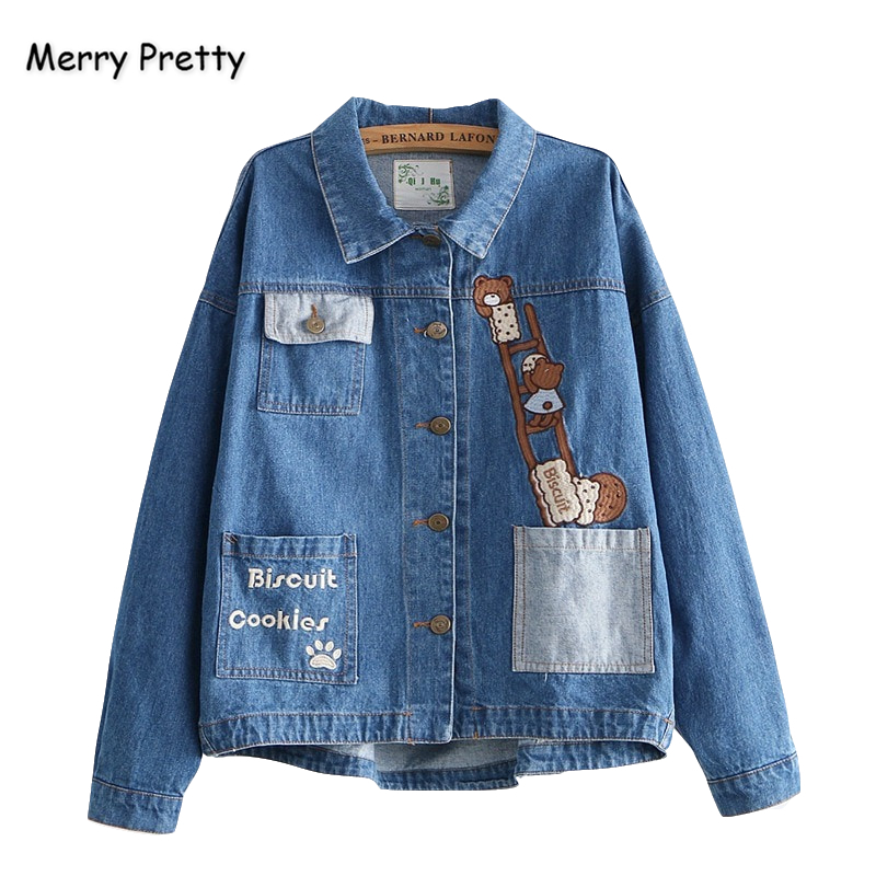 Merry Pretty Women Cartoon Embroidery Blue Denim   Jackets   2019 Winter Long Sleeve Turndown Collar Pockets   Basic     Jacket   Outerwear