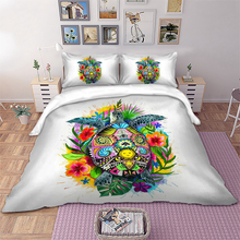 Wongs bedding Tortoise Art Bedding Set Bohemian Floral Duvet Cover Queen King Size Colorful Bedclothes