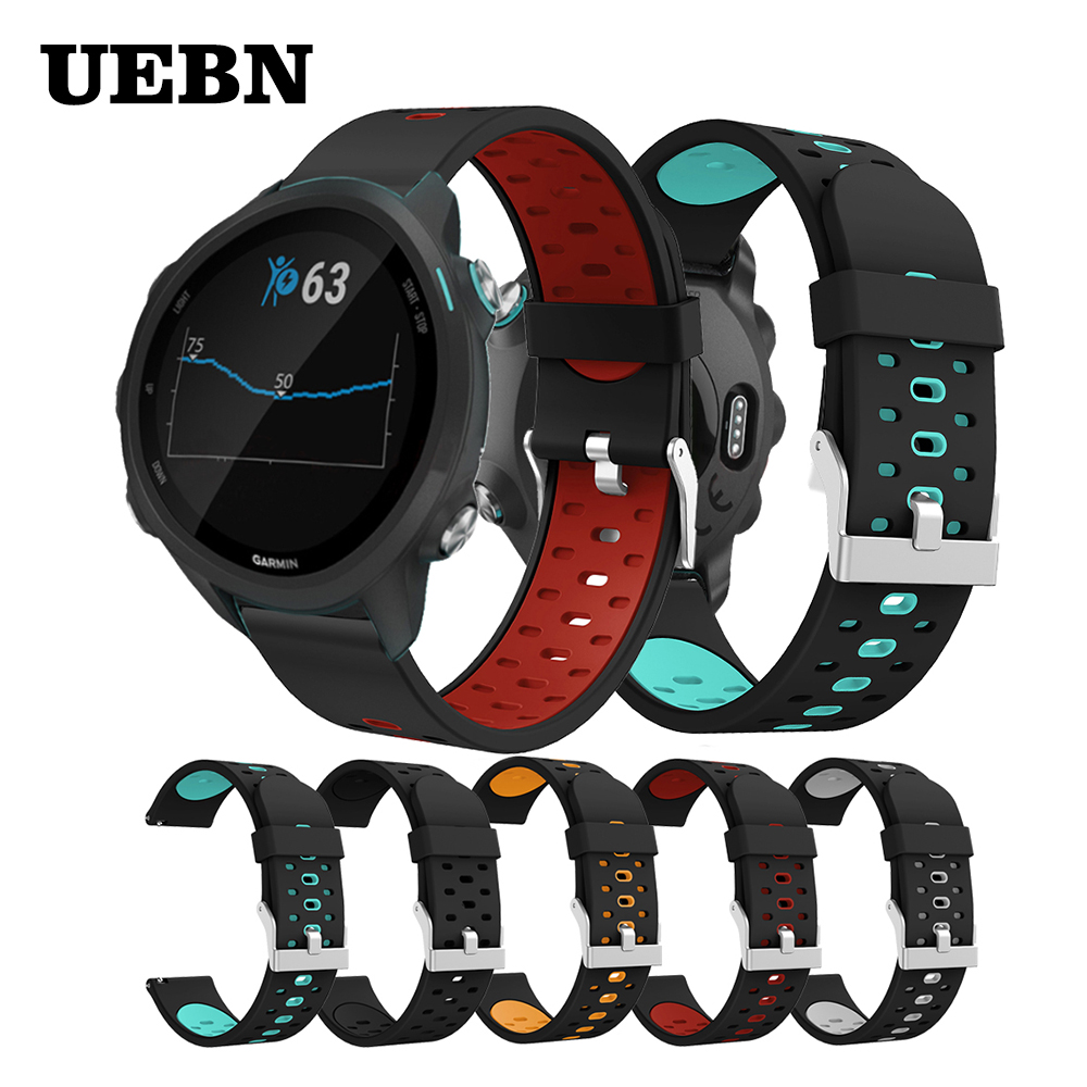UEBN 20mm Silicone Sport Band For For Garmin Forerunner 245M 645 Music Strap For Vivoactive 3 HR Venu Move 3 Watchbands