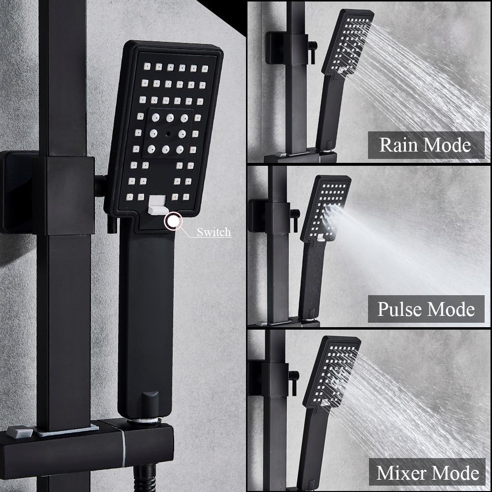 Uythner matinis juodas lietaus efekto dušo vonios maišytuvas 2